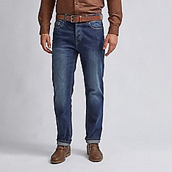 Burton - Mid blue straight fit belted jeans