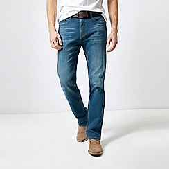 Burton - Blue Belted Greencast Straight Fit Jeans