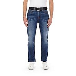 Burton - Blue belted straight leg jeans