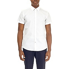 Burton - White slim fit short sleeve easy iron shirt
