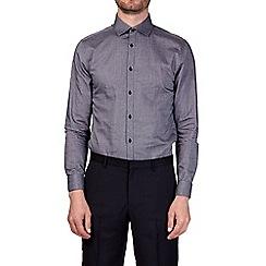 Burton - Charcoal slim fit double cuff diagonal dobby shirt