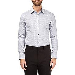 Burton - Grey muscle fit leaf print shirt