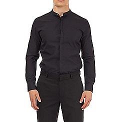 Burton - Black slim fit grandad collar shirt