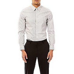 Burton - Cream skinny fit feather print shirt with single cuffs