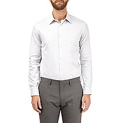 Burton - White and grey slim fit dobby shirt