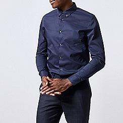 Burton - Navy skinny fit button down stretch shirt