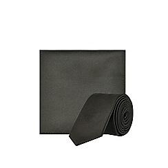Burton - Black Tie And Matching Pocket Square Set