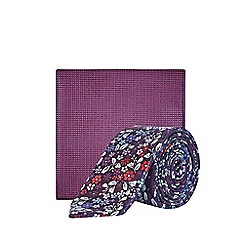 Burton - Pink Floral Textured Tie and Pocket Square Set