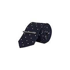 Burton - Navy Spotted Tie With Clip