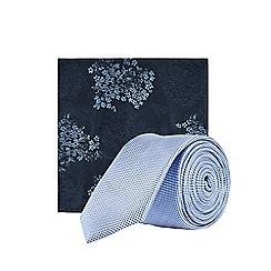 Burton - Mid Blue Tie and Floral Design Pocket Square Set