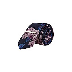 Burton - Navy and pink floral print tie with clip