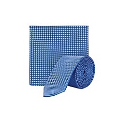 Burton - Mid blue texture tie and pocket square set