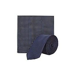 Burton - Navy texture tie and pocket square set