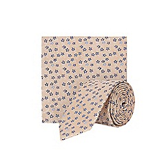 Burton - Ecru floral print tie and pocket square set