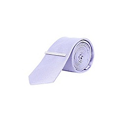 Burton - Lilac textured tie with clip
