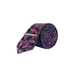 Burton - Navy bruise floral tie with clip