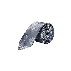 Burton - Silver floral tie and textured pocket square set