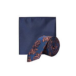 Burton - Navy and rust floral tie and pocket square set