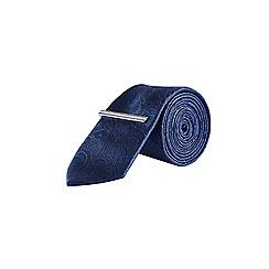Burton - Navy tonal paisley design tie with clip