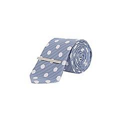 Burton - Pale blue spot clip tie