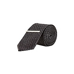 Burton - Charcoal spot design tie with clip