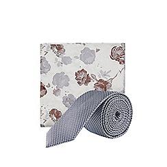 Burton - Dark Grey Textured Tie and Floral Pocket Square Set