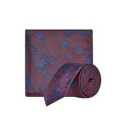 Burton - Burgundy and Navy Floral Print Pocket Square Set