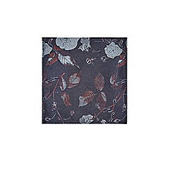 Burton - Navy and Burgundy Floral Tie and Pocket Square Set