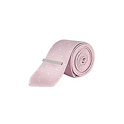 Burton - Pink and white spot tie with clip