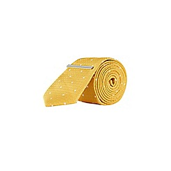 Burton - Yellow and white spot tie with clip