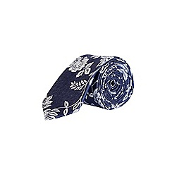 Burton - Navy and sliver floral tie