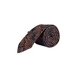 Burton - Navy and rust paisley tie set