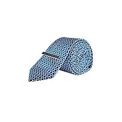 Burton - Mid blue geometric design tie with clip