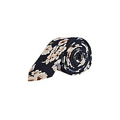 Burton - Navy and white brushed floral tie