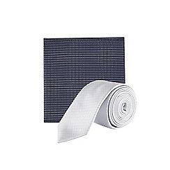 Burton - Grey textured tie and pocket square