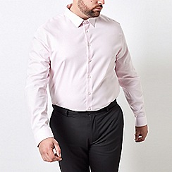 Burton - Big & tall pink tailored fit textured shirt