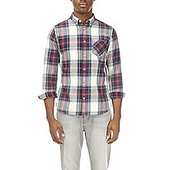 Burton - Red checked long sleeve denim shirt