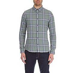 Burton - Green long sleeve relaxed fit checked shirt