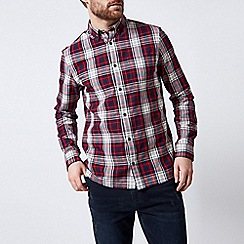 Burton - Burgundy long sleeve brushed check shirt