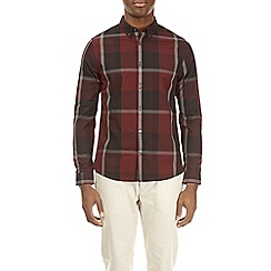 Burton - Red long sleeve smart checked shirt