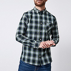 Burton - Ecru green long sleeve tartan check shirt