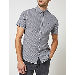 Burton - Navy short sleeve gingham Oxford shirt