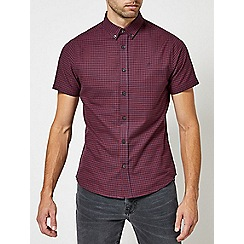 Burton - Red and navy short sleeve gingham Oxford shirt