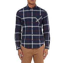 Burton - Navy check long sleeve slim fit Oxford shirt