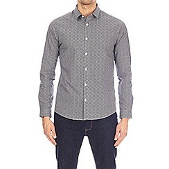 Burton - Navy long sleeve abstract checked shirt