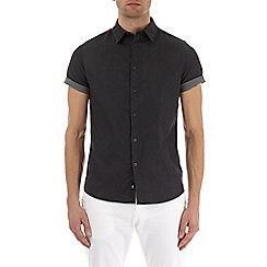 Burton - Dark grey short sleeve stretch smart shirt