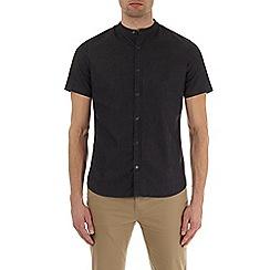Burton - Dark grey short sleeve grandad collar denim shirt