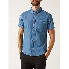 Burton - Mid wash short sleeve denim shirt