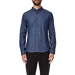 Burton - Blue dark wash long sleeves denim shirt