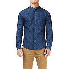 Burton - Blue dark wash long sleeves grandad denim shirt